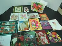 Lot 17 Unused Greeting Cards - Christmas, Best Wishes, Cats, Santa - CUTE BOX!