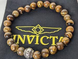 Invicta Men's Tiger's Eye Beaded Bracelet 33885