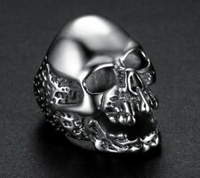 Gothic Punk Mens Silver Stainless Steel Motorcycle Rings Finger Band Jewellery