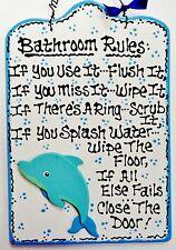 Dolphin Bathroom Rules Sign Tropical Beach Bath Island Wall Art Decor Plaque