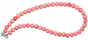 """925 Sterling Silver Pink Opal 16"""" Strand Necklace Round 8.5mm Beads IUJHXZ5"""