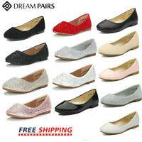 DREAM PAIRS Kids Girls Flat Shoes Dress Shoes Princess Slip On Wedding Shoes