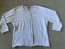EUC! Northern Traditions White Periwinkle L Women  Button Front Cardigan Sweater