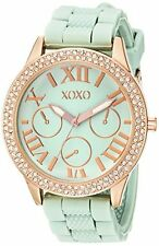 XOXO Womens Gold-Tone Stainless Steel Watch W/ Mint Green Silicone Band