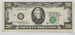 1988 A $20 US Federal Reserve Note Off Center Misaligned Overprint J15726351A