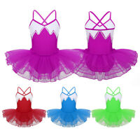 Girls Kids Lyrical Dress Sequins Ballet Dance Gymnastics Stage Dancewear Costume