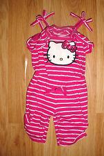 Baby Girls Pink Stripes Hello Kitty kitten cat Romper Capri Pants Outfit-12 mo