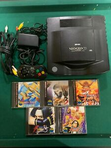 NEO GEO CD Console System SNK + 5 Games- King of Fighters, Ghost Pilots (tested)