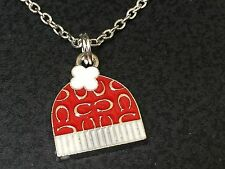 "Snow Toboggan Winter Hat Red Enamel Charm Tibetan Silver 18"" Necklace"
