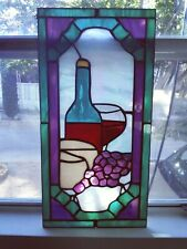 """Stained Glass Sun Catcher """"Grapes & Wine"""" 15 1/2"""" x 8"""" ~"""