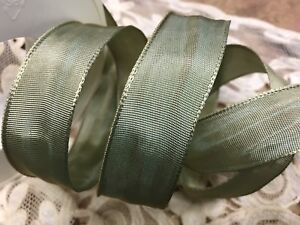"""Vintage French Viscose Rayon Ribbon 7/8"""" Solid Antique Moss 1yd Made in France"""