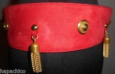 ESCADA Belt Size 10 40 Lipstick Red Suede Leather Gold Link Chains Tassels 1990s