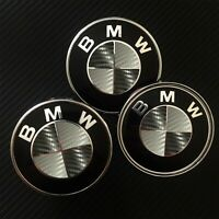 Black / Gray CARBON Overlay Decal BMW BADGE ROUNDEL EMBLEMS Rims Hood Trunk