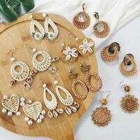 Women's Handmade Wood Bamboo Rattan Weaving Pendant Dangle Drop Earrings Jewelry