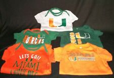 Miami Hurricanes Short Sleeve Baby One Piece Tops Sz  6-9 & 6-12 Months lot of 5