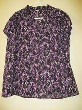 Cap Sleeve Button Down Shirt Machine Washable Floral Tops & Blouses for Women