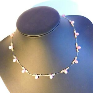 collar Necklace wire pink glass drop beaded  costume Jewellery