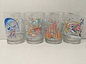 Complete Set of 4 Disney World 25 Years Remember the Magic Drinking Glasses