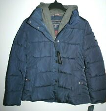 TOMMY HILFIGER WINTER PUFFER JACKET COAT MEDIUM WOMEN NAVY WITH DETACHABLE HOOD