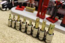 "Snap On Tools 209EFTXBY 1/4"" Dr 3/8"" Dr 8 PC Torx Bit Socket Set T20-T55"