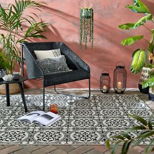 VARANO VINTAGE CASABLANCA CERAMIC LOOK FLORAL DESIGN OUTDOOR INDOOR RUG RUNNER