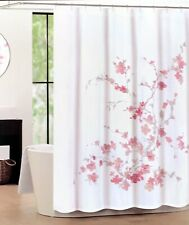 Tahari Home Printemps Fabric Shower Curtain Pink Gray White Floral - NEW