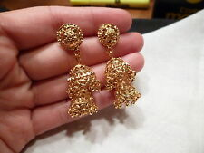 GOLD PLATED LONG DANGLING EARRINGS  WEDDING  LIGHT INDIAN JHUMKIS