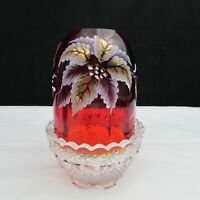 Fenton Ruby Red Poinsettia Christmas LE Hand Painted 2 pc Fairy Light W72