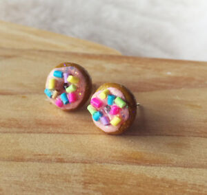 Doughnut Earrings Handmade Polymer Clay Stud Earring Surgical Steel Doughnut