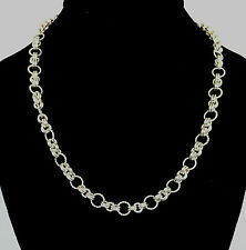 Chainmaille Sterling Silver Twisted Ring Link Necklace. 20 Inches.