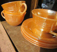 VINTAGE PEACH LUSTRE LAUREL RIBBED COFFEE CUP & SAUCER LOT FIRE KING OVEN WARE