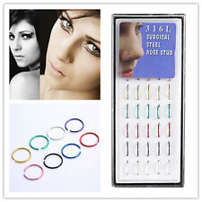 40pcs/Box Hot Wholesale Multi Stainless Steel Nose Studs Ring Hoop Body Piercing