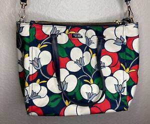 Kate Spade NY - Dawn Breezy Navy Floral - Nylon Purse Shoulder Bag - 3 Pockets