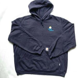 Mens Carhartt dark blue flame resistant fabrics Hoodie Size Large L