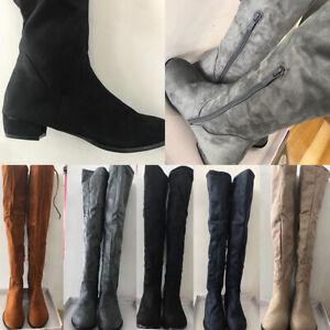 Women Ladies Sexy Over Knee High Boots Mid Block Heel Slim Suede Stretch Boots