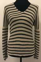 Vince Womens Drop Shoulder V-Neck Sweater Size XS Gray Black Stripe 100% Linen