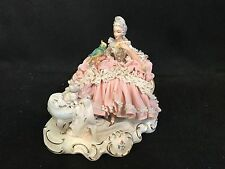 Dresden Lace Porcelain Figurine W/Bird And Dog On Bench-Marked-Label