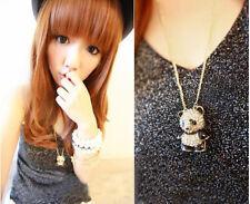 Collier avec longue chaîne en strass nouveauté Panda pendentif pour femme