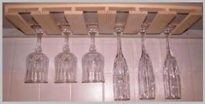 """10 wine glass stemware holder  - 6"""" deep under cabinet rack"""