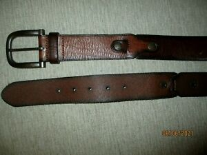 """FOSSIL TOP QUALITY DESIGNER TOUGH BROWN WIDE  LEATHER BELT 28' TO   32""""  VGC"""
