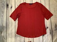 Apt. 9 Womens L Red Top Blouse Shirt Stretch Short Sleeve  Semi Sheer