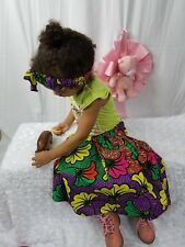 Girls African Ankara Toddler Skirt Wit Bow Headband 2Pcs Size 18-24mth Waist 14""