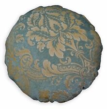 We301n Gray Green Damask Flower Chenille Round Shape Pillow Case/Cushion Cover