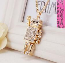 Pendant Betsey Johnson Fashion Jewelry robot Rhinestone Enamel Necklaces charm