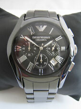 EMPORIO ARMANI MENS CERAMICA CHRONOGRAPH WATCH AR1400 BLACK CERAMIC GENUINE
