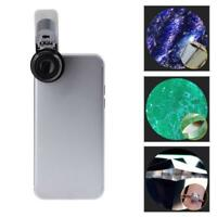 65X Zoom Clip-on Microscope LED+ UV Light Magnifier Micro Lens for Phone