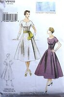 VINTAGE 1950's VOGUE retro 1954 FLARED DRESS & SASH SEWING PATTERN V9105 SZ 6-22