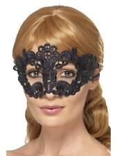 Embroidered Lace Filigree Floral Eyemask Black Masquerade Ball Fancy Dress