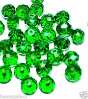 faceted rondelle glass crystal beads,  green, option for size 8 mm, 10 mm