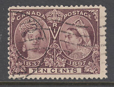 Canada Sc 57 used. 1897 10c Jubilee, nice color, lt cancel, sound.